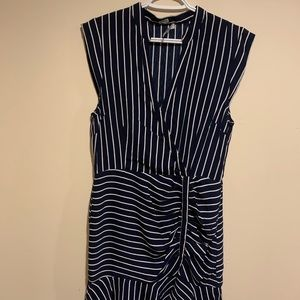 Classic Navy & White Striped, Short Sleeved Dress
